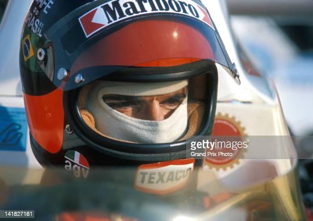 Emerson Fittipaldi of Brazil driver of the Marlboro Team Texaco McLaren M23 Ford Cosworth V8 before the start of the Spanish Grand Prix on 28th April...