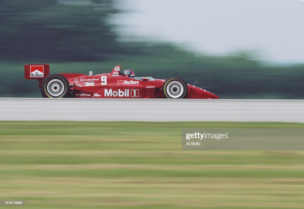 Emerson Fittipaldi of Brazil drives the #9 Hogan Penske Penske PC-25 Mercedes-Benz IC108C V8t during the Championship Auto Racing Teams (CART) 1996 PPG Indy Car World Series IndyCar Medic Drug Grand Prix of Cleveland on 30 June 1996 at the Burke Lakefront Airport, Cleveland, Ohio, United States.
