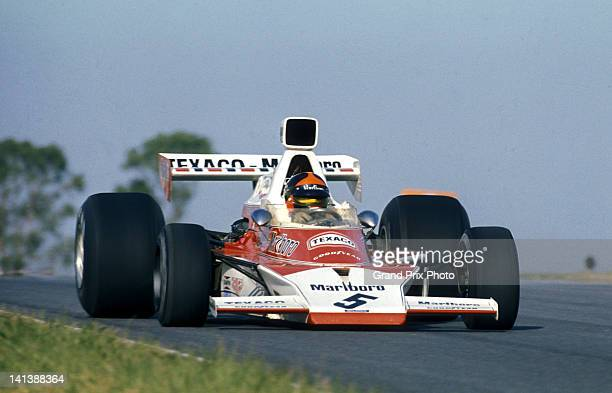 Emerson Fittipaldi of Brazil drives the Marlboro Team Texaco McLaren M23 Ford V8 during the Argentine Grand Prix on 13th January 1974 at the...