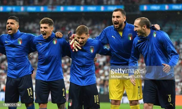 Emerson, Giovanni Di Lorenzo, Nicolo Barella, Gianluigi Donnarumma and Giorgio Chiellini of Italy sing the national anthem prior to the UEFA Euro...