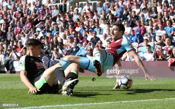 Emerson Hyndman of AFC Bournemouth and Matthew Lowton of Burnley during the Premier League match between Burnley and AFC Bournemouth at Turf Moor on...