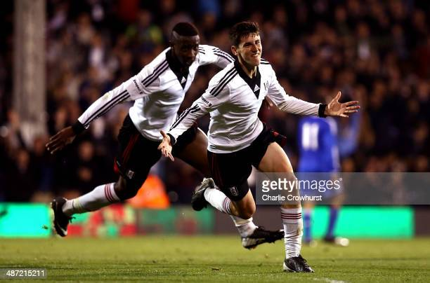 Emerson Hyndman of Fulham celebrates after scoring the teams second goal during the FA Youth Cup Final First Leg match between Fulham and Chelsea at...
