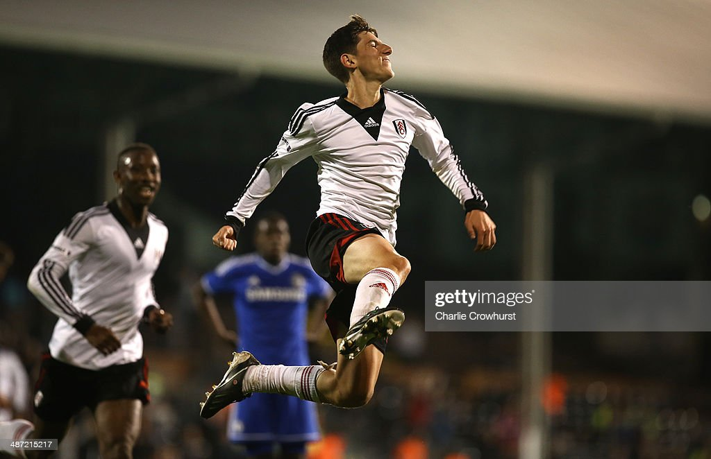 Emerson Hyndman of Fulham celebrates after scoring the teams second goal during the FA Youth Cup Final: First Leg match between Fulham and Chelsea at Craven Cottage on April 28, 2014 in London, England.