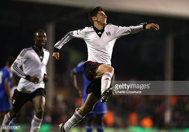 Emerson Hyndman of Fulham celebrates after scoring the team's second goal during the FA Youth Cup Final First Leg match between Fulham and Chelsea at...