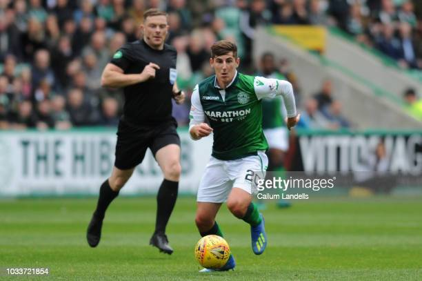 Emerson Hyndman of Hibernian FC runs with the ball in the midfield during the Scottish Ladbrokes Premiership match between Hibernian and Kilmarnock...