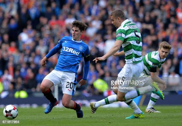 Emerson Hyndman of Rangers is tackled by Jozo Simunovic of Celtic during the William Hill Scottish Cup SemiFinal between Celtic FC and Rangers FC at...