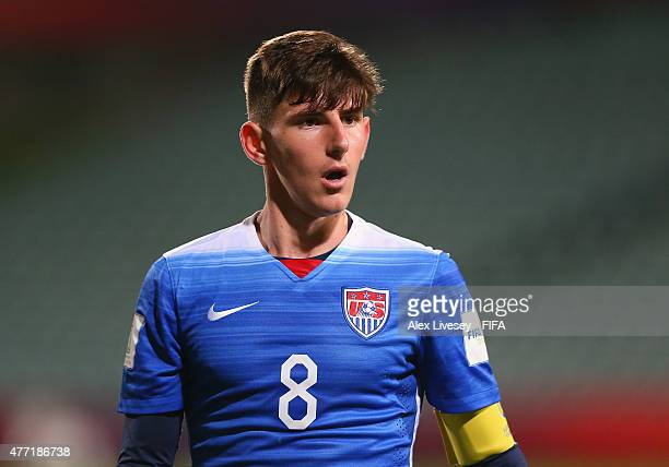 Emerson Hyndman of USA looks on during the FIFA U20 World Cup Quarter Final match between USA and Serbia at the North Harbour Stadium on June 14 2015...