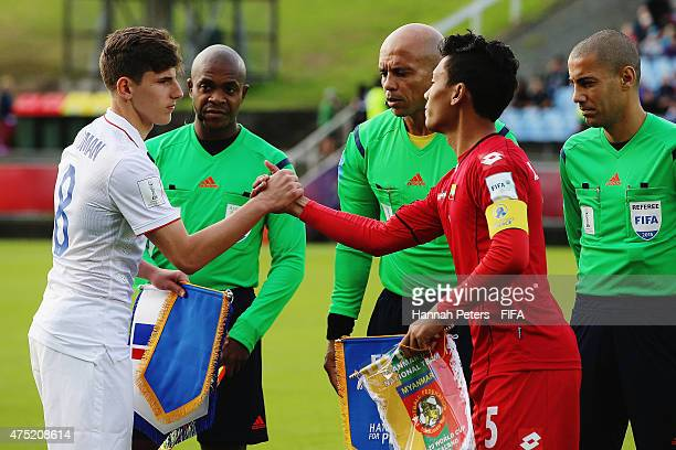Emerson Hyndman of USA shakes hands with Nanda Kyaw of Myanmar ahead of the FIFA U20 World Cup Group A match between USA and Myanmar at the Northland...