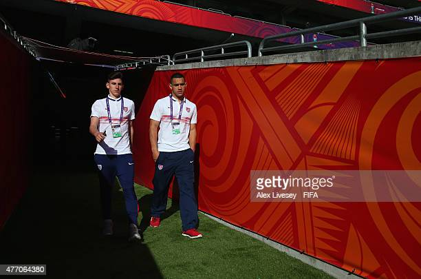 Emerson Hyndman the captain of USA walks out to inspect the pitch prior to the FIFA U20 World Cup Quarter Final match between USA and Serbia at the...