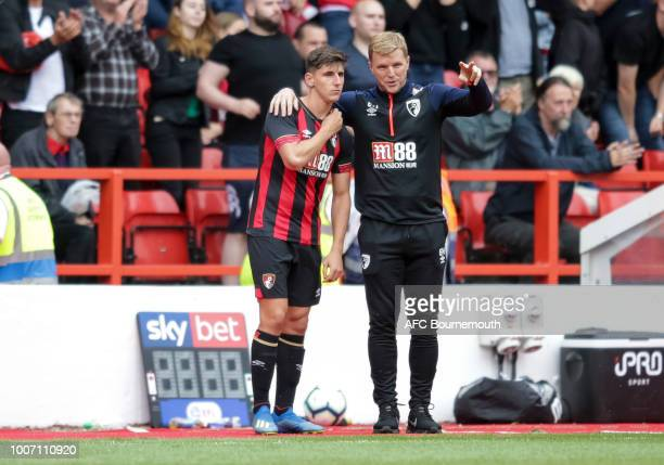 Emerson Hyndman with Bournemouth manager Eddie Howe during preseason friendly between between Nottingham Forest and AFC Bournemouth at City Ground on...