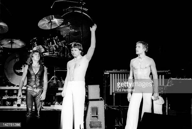 Emerson, Lake and Palmer perform at Oakland Coliseum Arena on August 6, 1977 in Oakland, California.