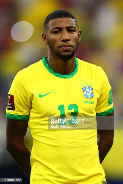 Emerson of Brazil looks on prior to a match between Brazil and Uruguay as part of South American Qualifiers for Qatar 2022 at Arena Amazonia on...