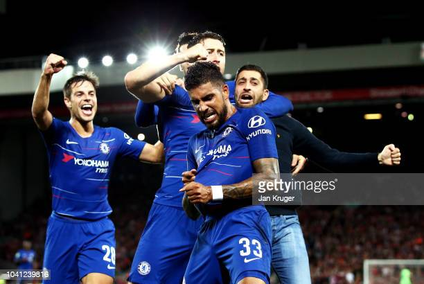Emerson of Chelsea celebrates with his teammates and a fan after he scores his sides first goal during the Carabao Cup Third Round match between...