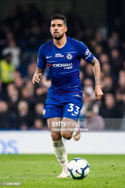 Emerson of Chelsea FC control ball during the Premier League match between Chelsea FC and West Ham United at Stamford Bridge on April 8 2019 in...