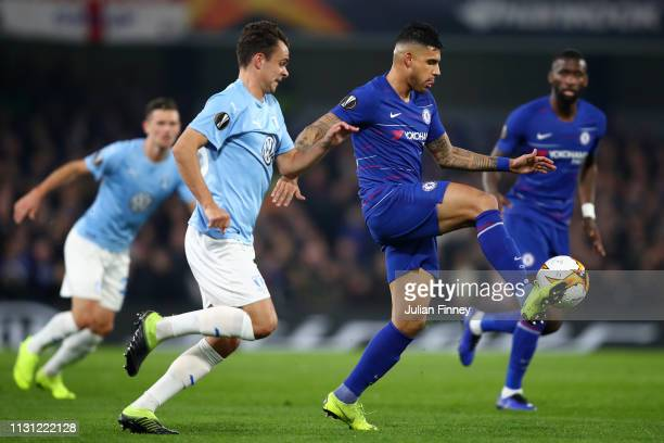 Emerson of Chelsea is challenged by Andreas Vindheim of Malmo during the UEFA Europa League Round of 32 Second Leg match between Chelsea and Malmo FF...