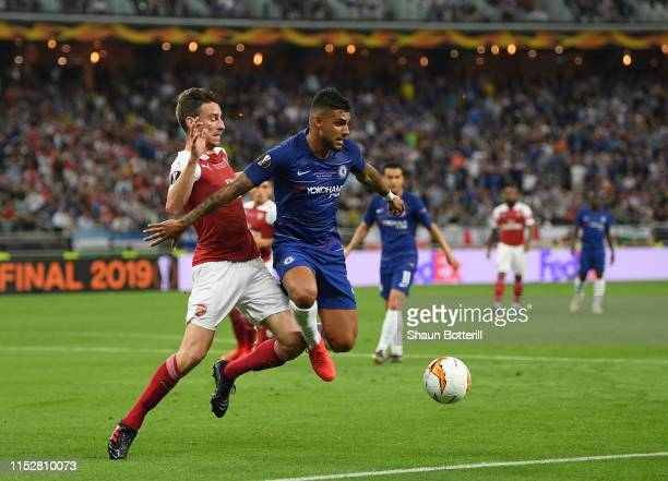Emerson of Chelsea is challenged by Laurent Koscielny of Arsenal during the UEFA Europa League Final between Chelsea and Arsenal at Baku Olimpiya...