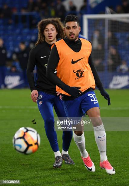 Emerson of Chelsea warms up for the match in front of Ethan Ampadu prior to the Emirates FA Cup Fifth Round match between Chelsea and Hull City at...