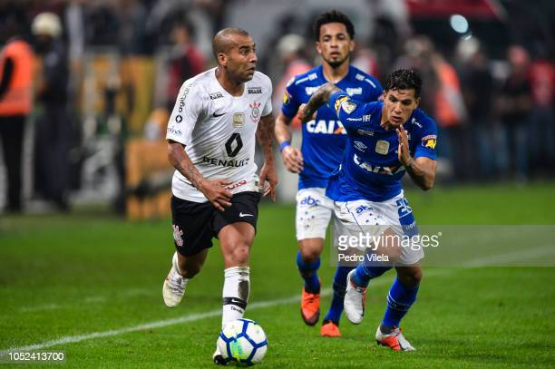 Emerson of Corinthians and Lucas Romero of Cruzeiro battle for the ball during a match between Corinthians and Cruzeiro as part of Copa do Brasil...