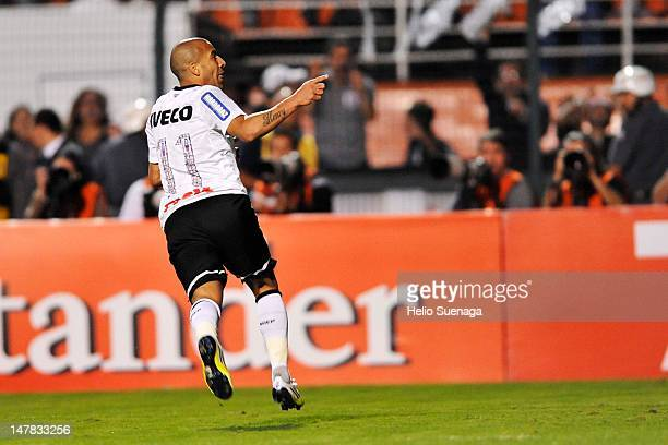 Emerson of Corinthians celebrates a goal against Boca Juniors during the second leg of the final of the Copa Libertadores 2012 between Boca Juniors...