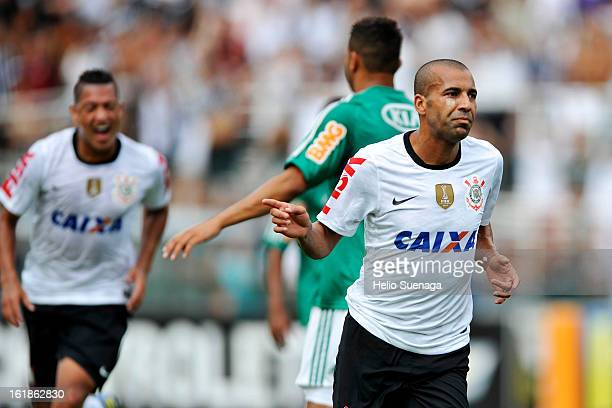 Emerson of Corinthians celebrates a goal against Palmeiras during a match between Corinthians and Palmeiras as part of Paulista championship 2013 at...