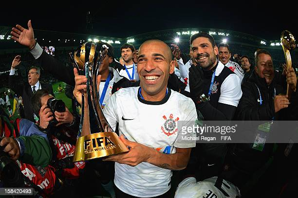 Emerson of Corinthians celebrates with the trophy after winning the FIFA Club World Cup Final Match between Corinthians and Chelsea at the...