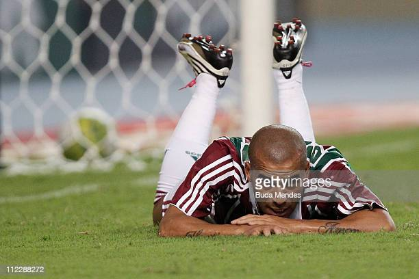 Emerson of Fluminense misses a goal during a match as part of Rio de Janeiro State Championship 2011 at Engenhao stadium on April 17, 2011 in Rio de...