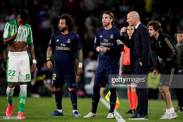 Emerson of Real Betis Marcelo of Real Madrid Sergio Ramos of Real Madrid coach Zinedine Zidane of Real Madrid during the La Liga Santander match...