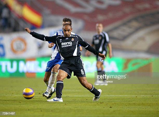 Emerson of Real Madrid and Luis Garcia of Espanyol in action during the match between RCD Espanyol and Real Madrid, of La Liga, on December 17, 2006...