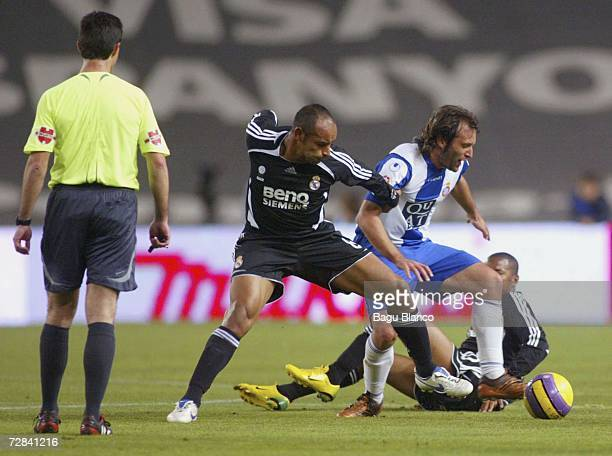 Emerson of Real Madrid and Rufete of Espanyol in action during the match between RCD Espanyol and Real Madrid, of La Liga, at the Lluis Companys...