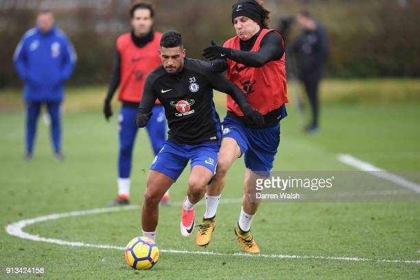 Emerson Palmieri and David Luiz of Chelsea during a training session at Chelsea Training Ground on February 2 2018 in Cobham England