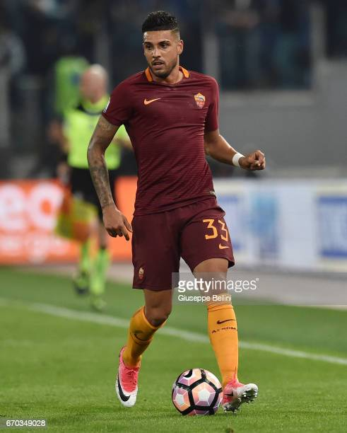 Emerson Palmieri dos Santos of AS Roma in action during the TIM Cup match between AS Roma and SS Lazio at Stadio Olimpico on April 4 2017 in Rome...