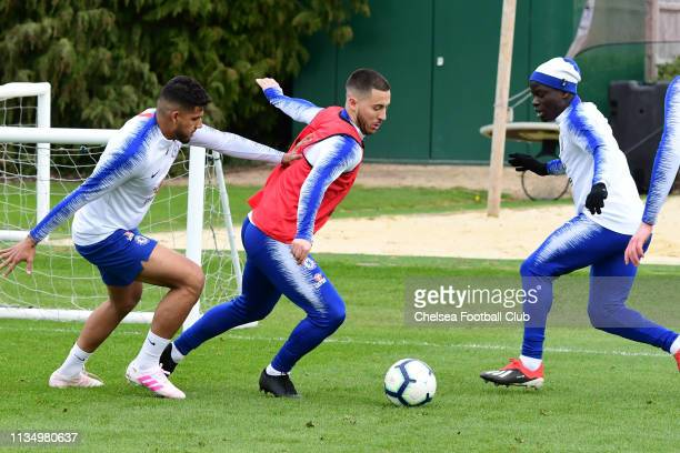 Emerson Palmieri Eden Hazard and Ngolo Kante of Chelsea during the Friday training session at Chelsea Training Ground on April 5 2019 in Cobham...