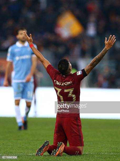 Emerson Palmieri of AS Roma celebration after the goal of 20 during the Italian Serie A football match between SS Lazio and AS Roma at the Olympic...