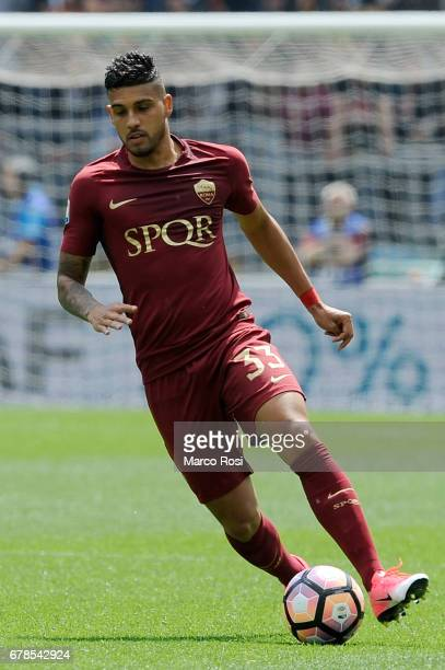 Emerson Palmieri of AS Roma during the Serie A match between AS Roma and SS Lazio at Stadio Olimpico on April 30 2017 in Rome Italy