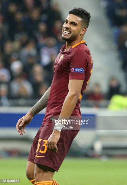 Emerson Palmieri of AS Roma reacts during the UEFA Europa League Round of 16 first leg match between Olympique Lyonnais and AS Roma at Parc OL on...