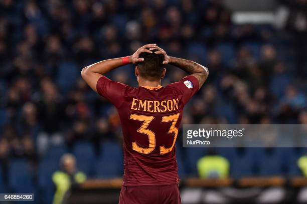 Emerson Palmieri of AS Roma rues a missed chance during the Italian Cup semifinal match between Lazio and Roma at Stadio Olimpico Rome Italy on 1...