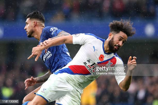 Emerson Palmieri of Chelsea and Andros Townsend of Palace during the Premier League match between Chelsea FC and Crystal Palace at Stamford Bridge on...