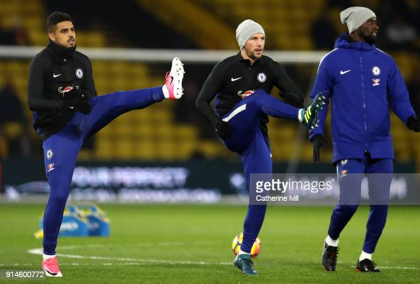 Emerson Palmieri of Chelsea and Danny Drinkwater of Chelsea during the Premier League match between Watford and Chelsea at Vicarage Road on February...
