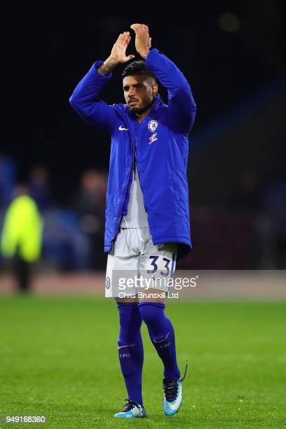 Emerson Palmieri of Chelsea applauds the supporters at fulltime following the Premier League match between Burnley and Chelsea at Turf Moor on April...