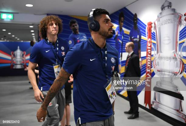 Emerson Palmieri of Chelsea arrives ahead of the The Emirates FA Cup Semi Final match between Chelsea and Southampton at Wembley Stadium on April 22...