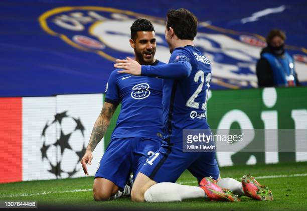 Emerson Palmieri of Chelsea celebrates with Ben Chilwell after scoring their team's second goal during the UEFA Champions League Round of 16 match...