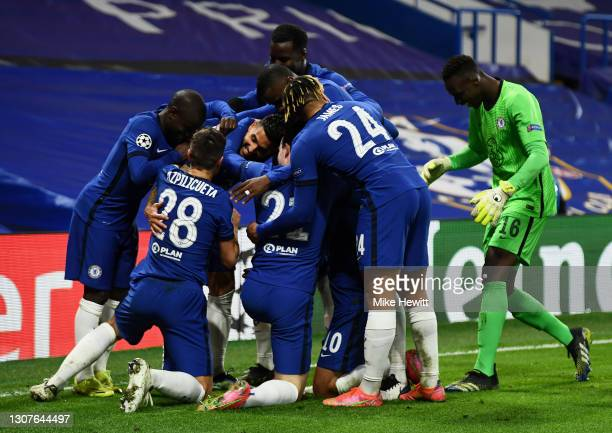 Emerson Palmieri of Chelsea celebrates with teammates after scoring their team's second goal during the UEFA Champions League Round of 16 match...