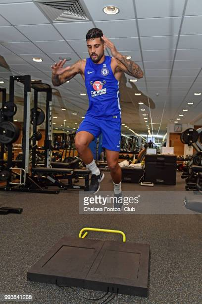 Emerson Palmieri of Chelsea during a preseason training session at Chelsea Training Ground on July 8 2018 in Cobham England