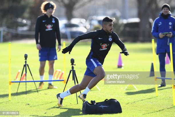 Emerson Palmieri of Chelsea during a training session at Chelsea Training Ground on February 1 2018 in Cobham England