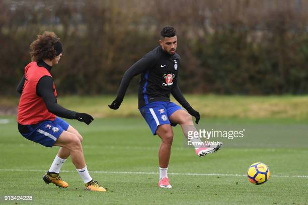 Emerson Palmieri of Chelsea during a training session at Chelsea Training Ground on February 2 2018 in Cobham England