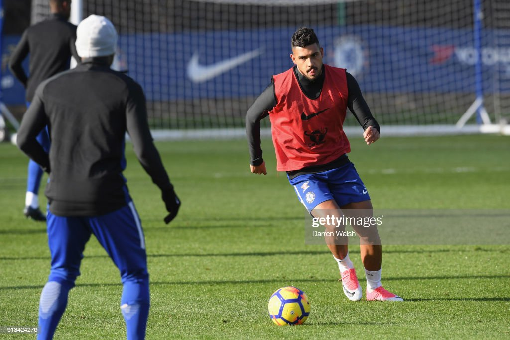 Emerson Palmieri of Chelsea during a training session at Chelsea Training Ground on February 2, 2018 in Cobham, England.