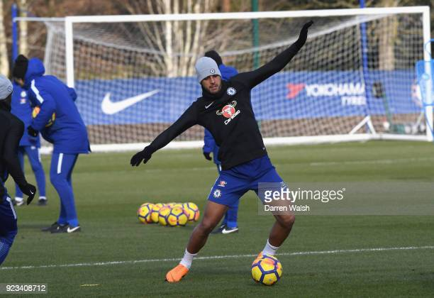 Emerson Palmieri of Chelsea during a training session at Chelsea Training Ground on February 23 2018 in Cobham United Kingdom