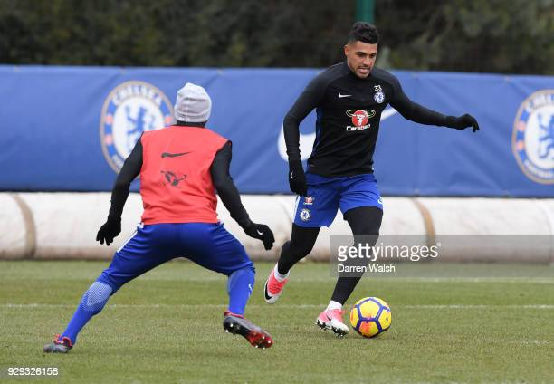 Emerson Palmieri of Chelsea during a training session at Chelsea Training Ground on March 8 2018 in Cobham England