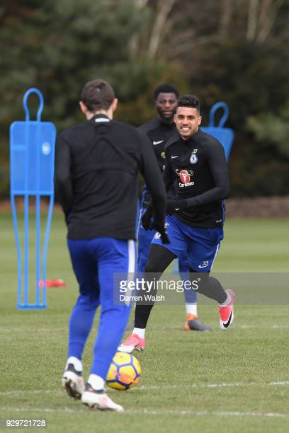 Emerson Palmieri of Chelsea during a training session at Chelsea Training Ground on March 9 2018 in Cobham England