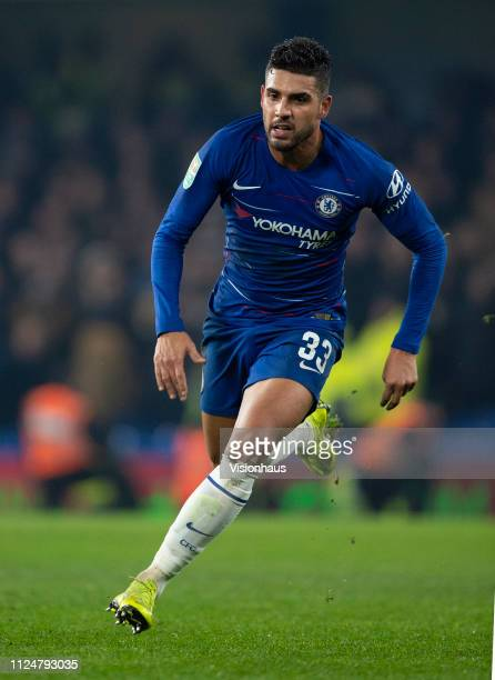 Emerson Palmieri of Chelsea during the Carabao Cup SemiFinal Second Leg match between Chelsea and Tottenham Hotspur at Stamford Bridge on January 24...